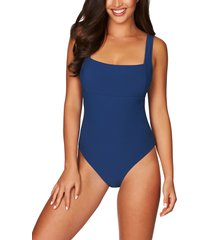women's sea level square neck ribbed one-piece swimsuit, size 4 us - blue/green