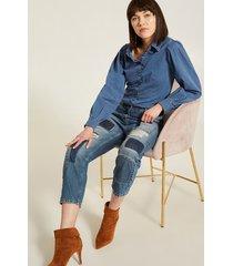 motivi jeans boyfit patchwork donna blu