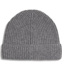 andrew stewart cashmere ribbed beanie in 020gry at nordstrom