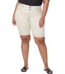 plus size women's nydj briella roll cuff bermuda shorts, size 22w - beige
