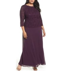 plus size women's alex evenings mock two-piece a-line gown, size 18w - purple
