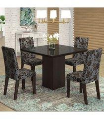 mesa de jantar 4 lugares geisa venus ameixa/cobre/preto - viero móveis