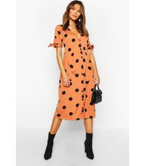 large polka dot button midi smock dress, apricot