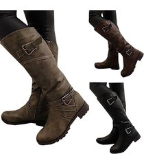 women slip on buckle belt low heeled long motorcycles riding leather boots
