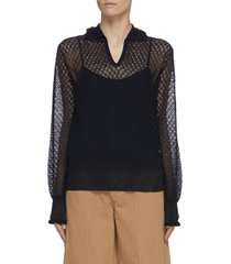v neck collared open knit sweater