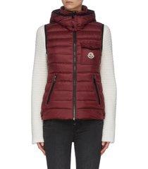 'glycine' hooded puffer zip-up vest