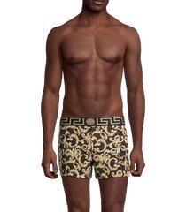 versace men's logo-print shorts - black gold - size 3 (xs)