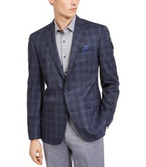 bar iii men's slim-fit blue plaid sport coat, created for macy's
