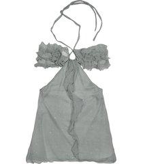 hafize ozbudak designer t-shirts & tops, gray ruched front silk crepe halter top