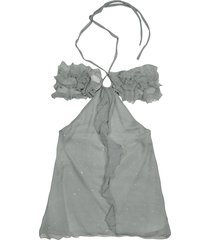 hafize ozbudak designer tops & co, gray ruched front silk crepe halter top