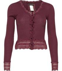 silk cardigan short ls w/wide lace gebreide trui cardigan rood rosemunde