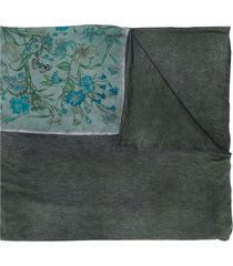 avant toi floral-print oversized scarf - grey