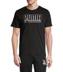 puma men's logo graphic short sleeve t-shirt - black - size s
