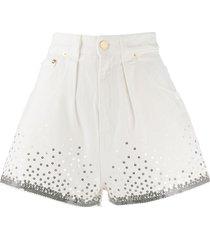 alberta ferretti sequin embellished shorts - white
