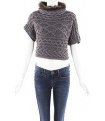 brunello cucinelli cable knit cashmere fur sweater brown sz: l