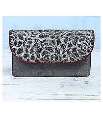 silk and leather accent clutch, 'spotted beauty' (india)