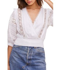 women's astr the label wanderer lace inset crop top, size small - white