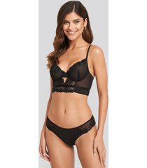 na-kd lingerie flower lace cheeky panty - black