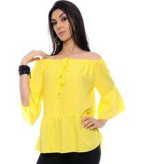 blusa ciganinha b bonnie ombro a ombro caroline amarela - kanui