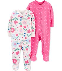 carter's baby girls 2-pk. cotton footie coveralls