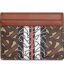 burberry monogram stripe e-canvas card case - brown