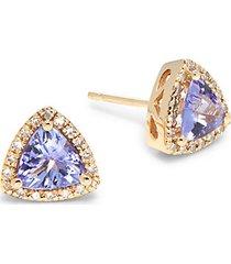 14k yellow gold, tanzanite & diamond triangle stud earrings