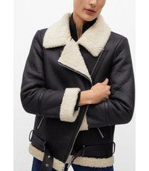 faux-fur lapels biker jacket