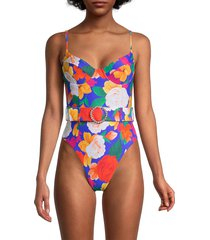 weworewhat women's danielle floral-print belted one-piece swimsuit - blue multicolor - size m