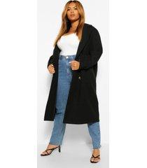 plus getailleerde nepwollen jas met dubbele knopen, black