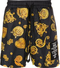 versace jeans couture baroque-print swim shorts - black