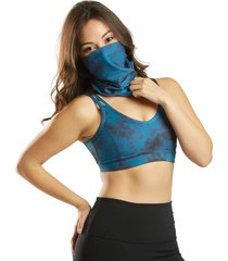 everyday yoga women's tie dye convertible face covering indigo spandex