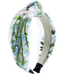 inc floral-embroidered mesh knotted headband, created for macy's