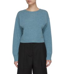 'valcyrie open back' crop merino wool sweater