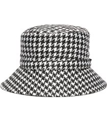 'bucket rain' houndstooth print water repellent nylon hat