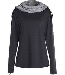 chic long sleeve turtle neck spliced women's sweatshirt