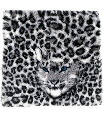 alberta ferretti oversized leopard print scarf - black