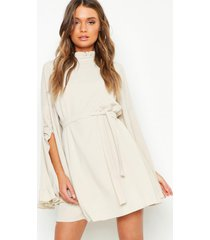 boho high neck wide sleeve shift dress, ecru