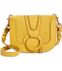 see by chloe hana suede & leather shoulder bag - yellow