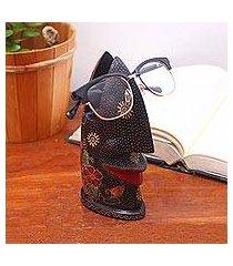 batik wood eyeglasses holder, 'batik nose' (indonesia)
