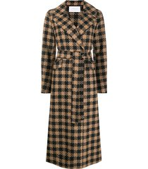 harris wharf london tie-waist gingham trench coat - neutrals