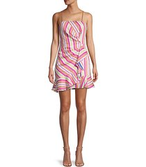 multistripe ruffle dress