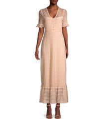 bcbgmaxazria women's lace-overlay maxi dress - peach - size m