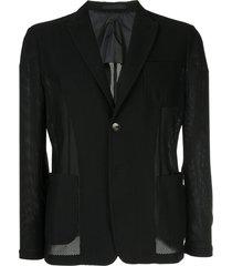 giorgio armani mesh fabric blazer - black