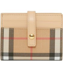 burberry vintage check e-canvas folding card case - neutrals