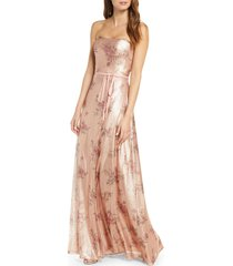 women's marchesa notte strapless print sequin a-line gown, size 0 - pink