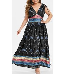 plus size peacock print plunging empire waist dress