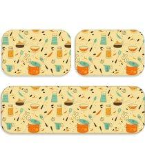kit tapete love decor de cozinha panelas amarelo