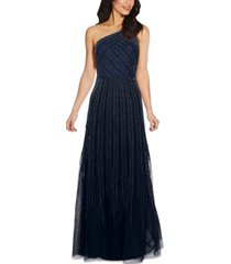 adrianna papell one-shoulder embellished ball gown