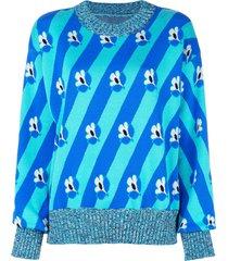 mm6 maison margiela slouchy foral stripe sweater - blue