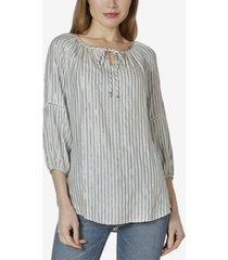 women's 3/4 sleeve peasant top with neck tie